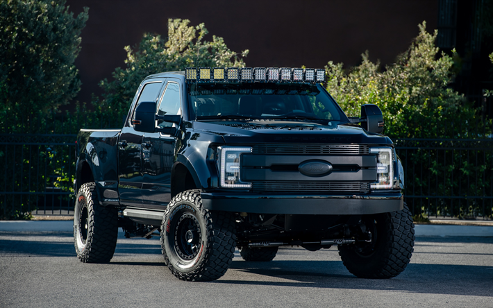 Download Wallpapers Ford F250 Super Duty Xlt Truck 2019 Deberti Design F 250 Tuning Black Pickup Truck American Cars Off Road Ford Besthqwallpapers Com Super Duty Trucks Ford Trucks Ford