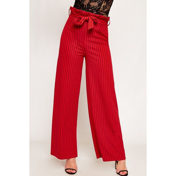 810d714e8b WearAll Striped High Waist Wide Leg Paperbag Trousers ($32) ❤ liked on  Polyvore featuring