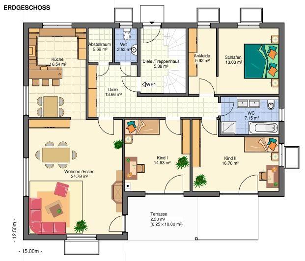 Kowalski Haus Bungalow Aurora 251 Grundriss Erdgeschoss
