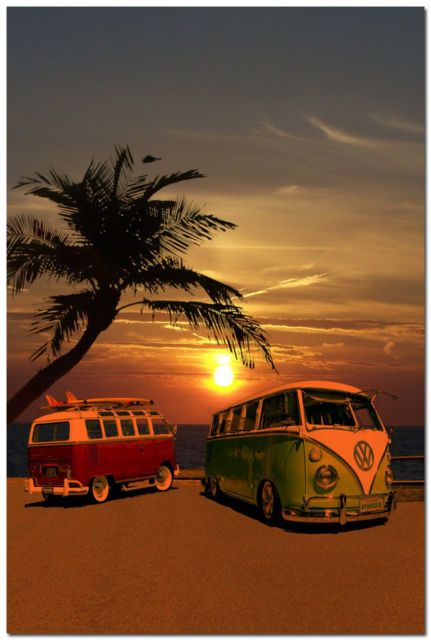 Sunset VW Bus Campers at Surf Beach Art Silk Poster