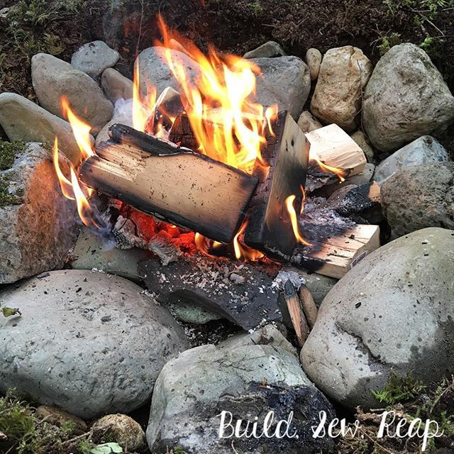 We build a fire pit using rocks we collected near the ...