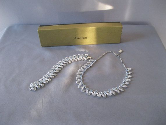 Vintage Necklace Set    1950s Silver Blue by ladyscarletts on Etsy