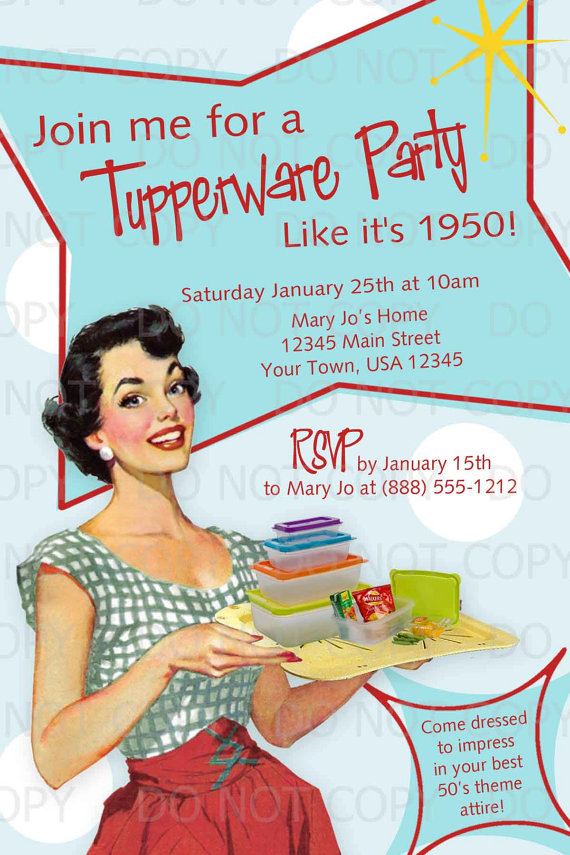 Printable DIY 50\'s Retro Housewife Theme Tupperware Party Invitation ...