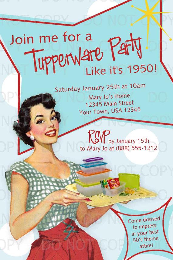Printable DIY 50\'s Retro Housewife Theme Tupperware Party ...