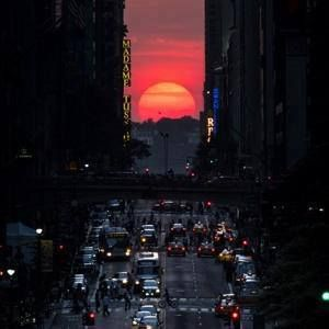 7/12/13 ~If you are in Manhattan, NYC tonight you will get to see this great view that happens twice a year called Manhattanhenge. It is where the sun aligns perfectly with the street grid while setting.