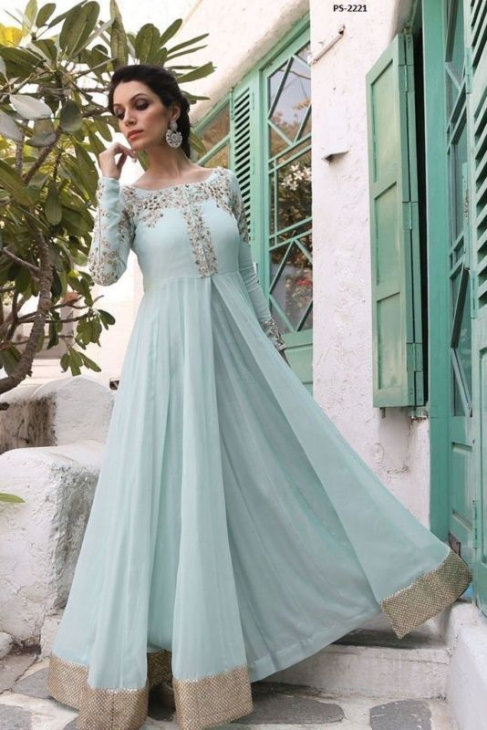 Traditional Fashion Wedding Suit Powder Blue Anarkali Dress Plus ...