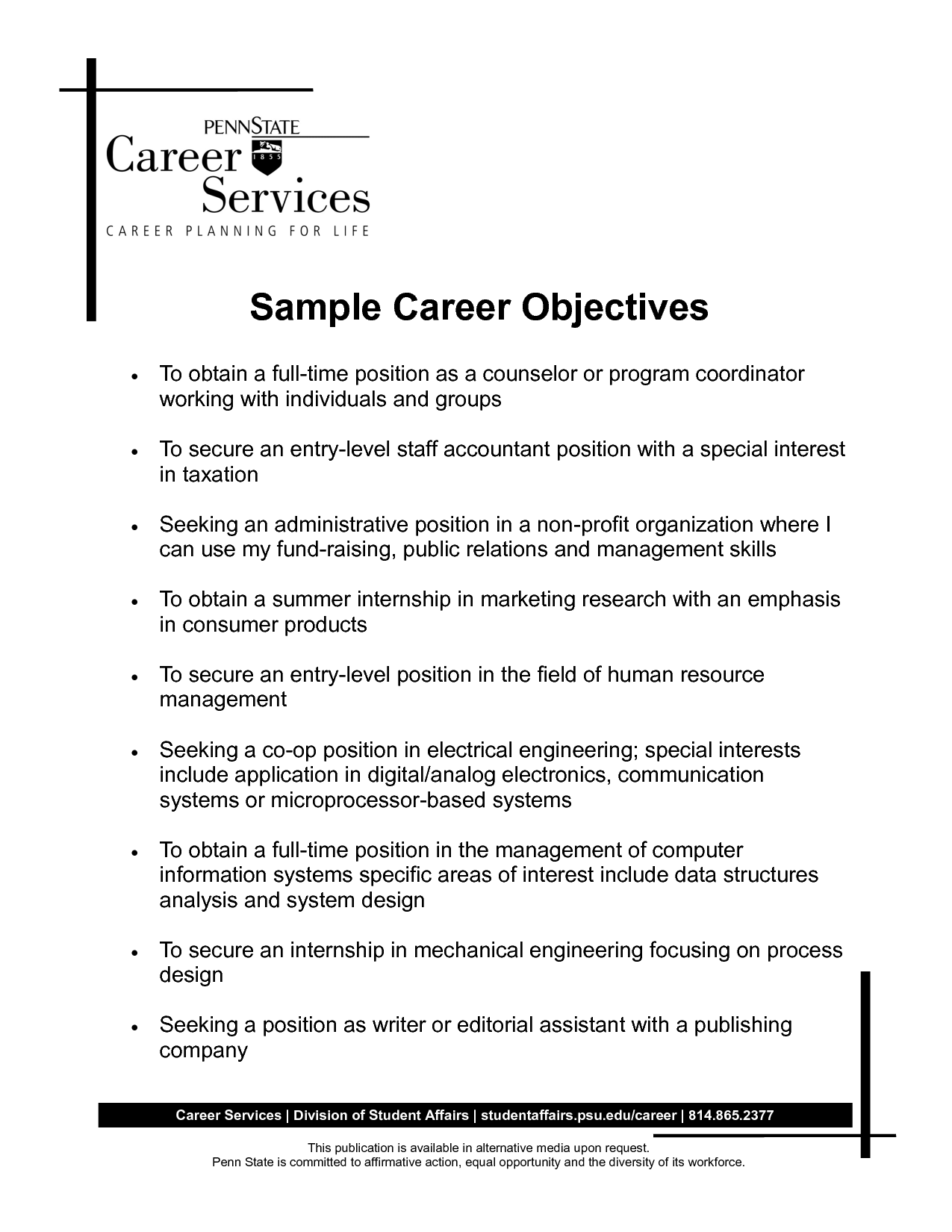 Resume Job Objective Examples Career Objective Resume Accountant  Httpwww.resumecareer .