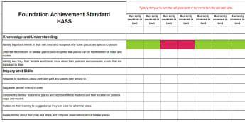 Australian Curriculum HASS Foundation Achievement Standards Program Assessment Spreadsheet - English (Australian)-Australia - Australian Curriculum,  Hass,  Planning, Assessment, Program, Rubrix, Achievement Standards,Australi
