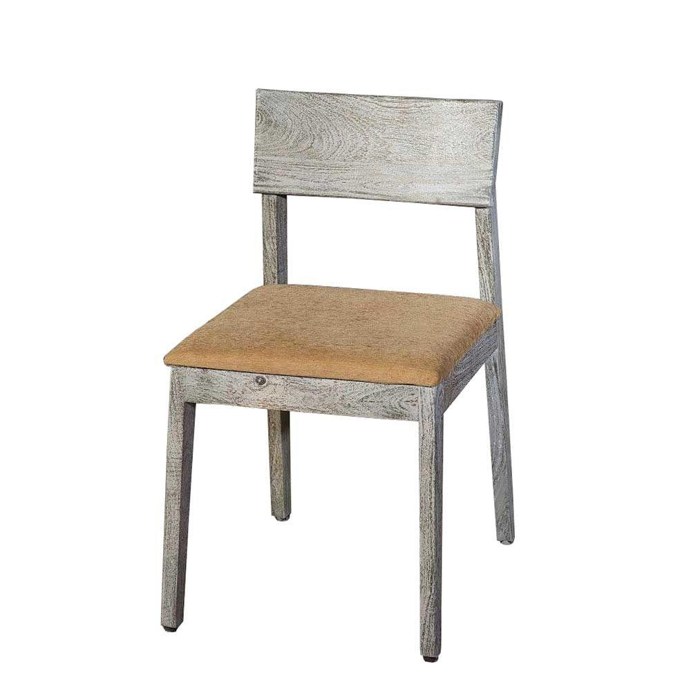 Esszimmerstuhl aus Holz massiv Grau antik gewischt Jetzt bestellen ...