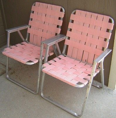Vintage Aluminum Folding 2 Pink Lawn Chairs Webbing Patio