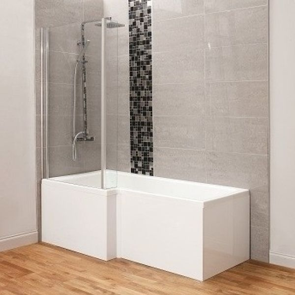 Ceramica 1700mm L Shaped Shower Bath + Legs, Screen, White Front ...