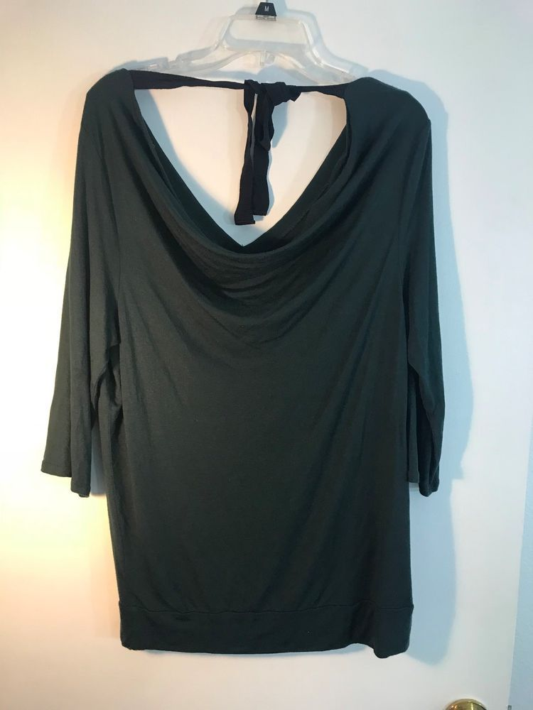 c2e2ed53232 Anthropologie 9-HI5 STCL Long sleeve v-neck cowl tie neck line back Green L  1057  9HI5STCL  Tunic