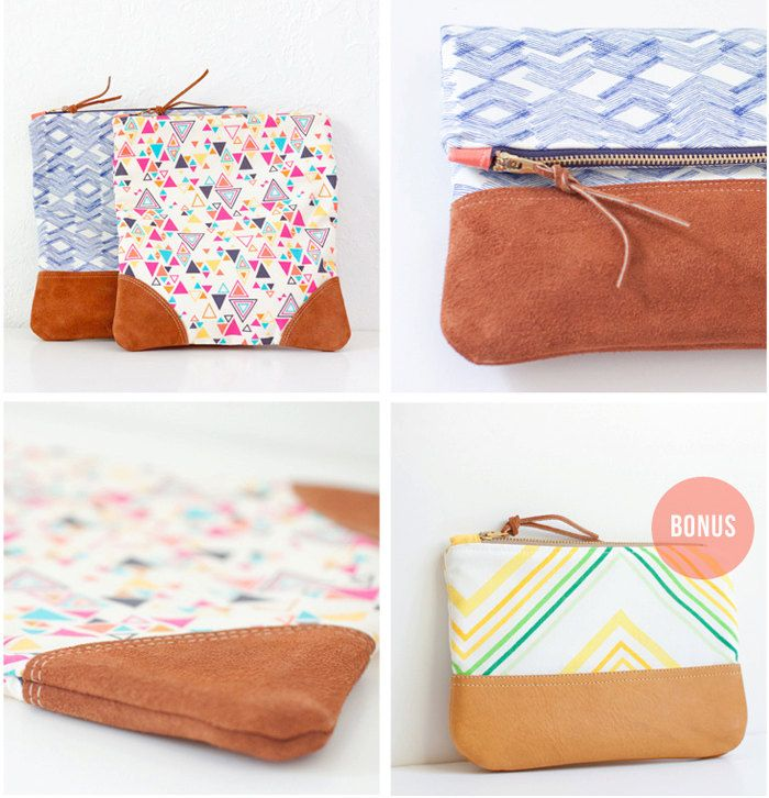 PDF Sewing Pattern - Leather Accent Fold Over Pouch | Carteras ...
