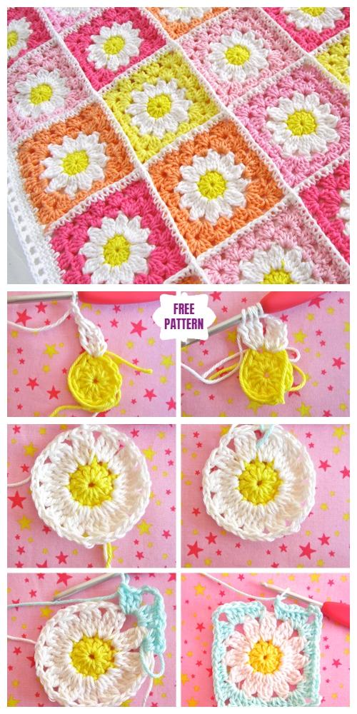 Crochet Daisy Flower Square Blanket Free Crochet Patterns – Häkeln