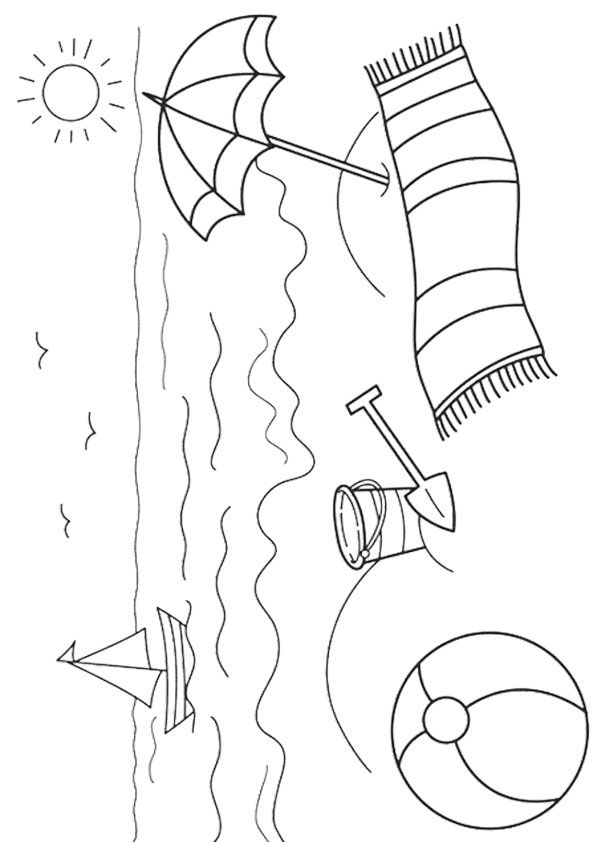 beach colouring page for kids in summer  Beach coloring pages