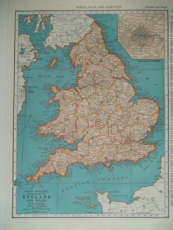 10 1935 45 england wales map london inset original 1930s 1940s 10 1935 45 england wales map london inset original 1930s 1940s gumiabroncs Images