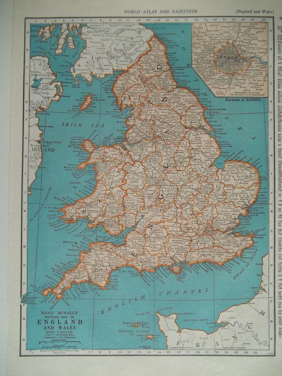 10 1935 45 england wales map london inset original 1930s 10 1935 45 england wales map london inset original 1930s 1940s gumiabroncs Choice Image