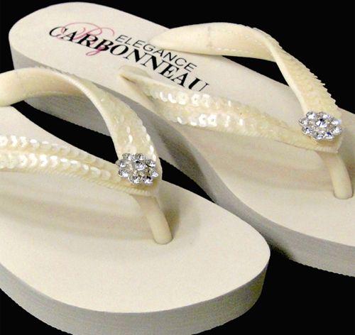43d31ac5875 Sequins   Crystals Low Wedge Bridal Flip Flops - Ivory