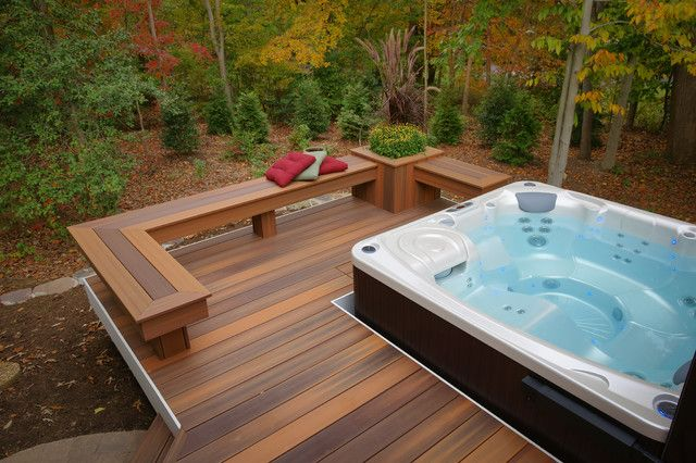 A Corner Bench Between L Shaped Pergola Make Outdoor Wood Bench Seating Bench Frame For Composite Wood Hot Tub Patio Hot Tub Backyard Hot Tub Deck Design