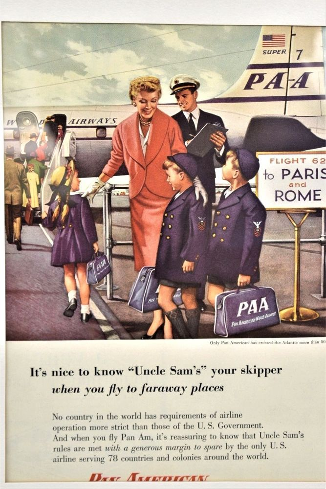 Vtg 50s Airline Advertisement Pan American Airlines Uncle