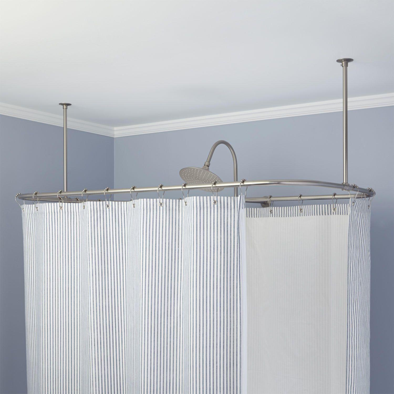 Rectangular Shower Curtain Rod - Bathroom | Bathroom Design ...