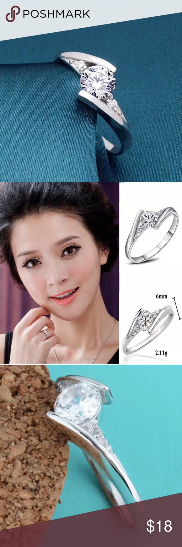 Zircon silver plated ring size 7 Nice elegant ring Jewelry Rings