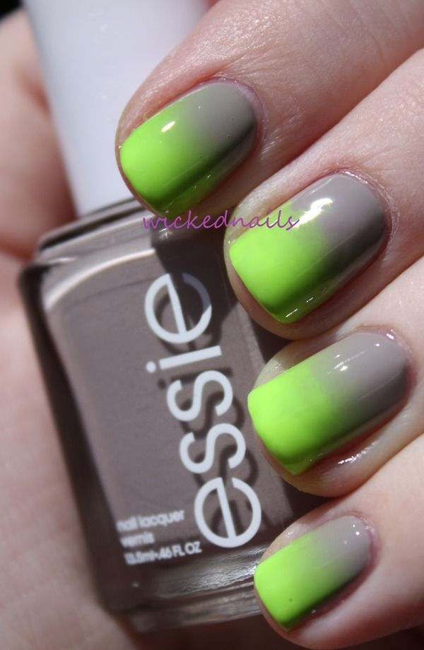 A melon and white gradient inspired nail art with silver dust ...