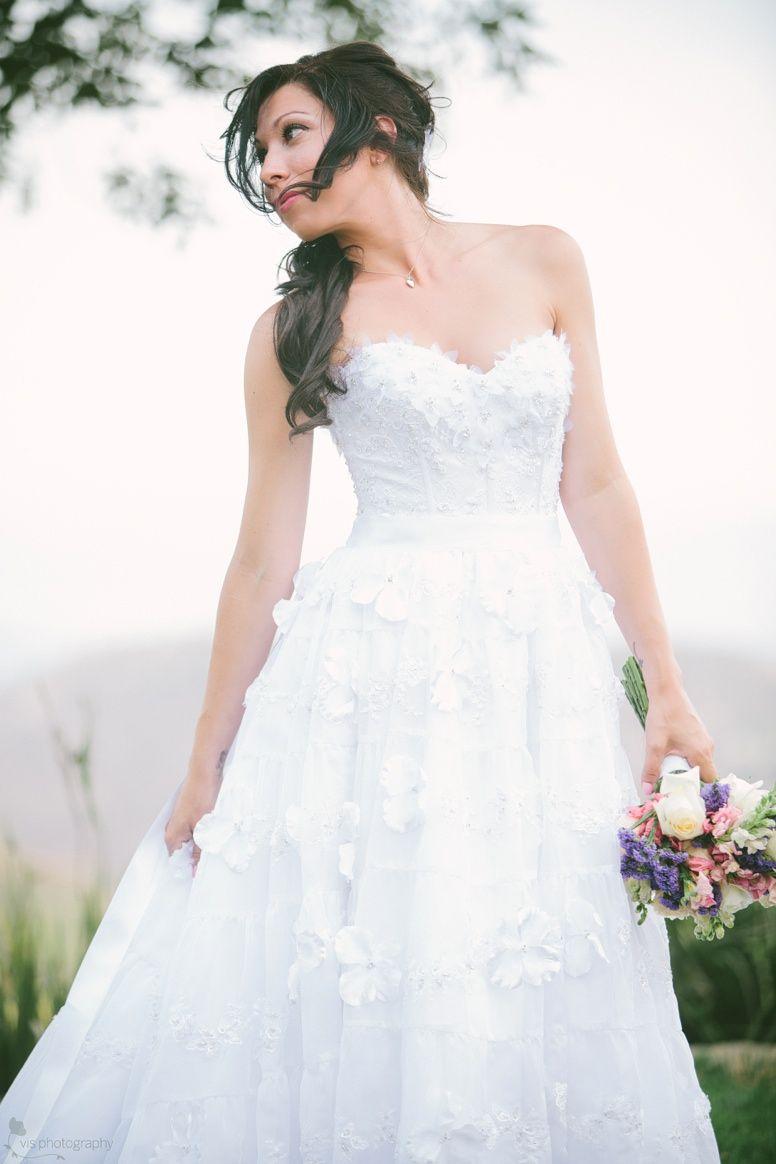 Fun, floral wedding dress.  Wedding Photography.  Vis Photography