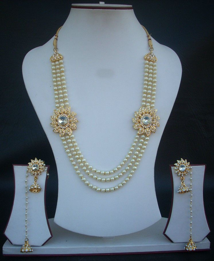Indian Bridal Wedding Pearl Rani Haar Choker Necklace Sets: INDIAN RANI HAAR JEWELRY SET PEARL CZ BRIDAL NECKLACE