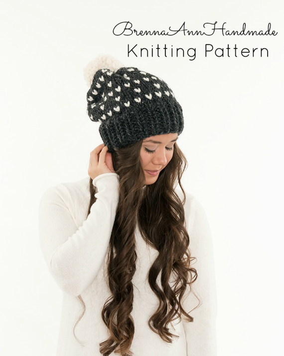 b5836770e18 KNITTING PATTERN - Heart Fair-Isle Slouchy Knit Pom Hat Pattern ...