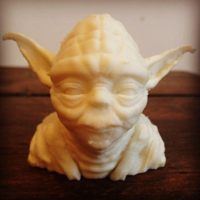 Yoda head printed in glow in the dark filament printd matter