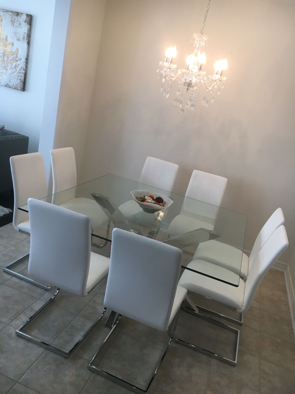 Modern White And Chrome Dining Table Stardust Glass