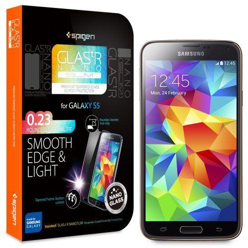 Galaxy S5 Screen Protector, Spigen® Samsung Galaxy S5 Screen Protector Glass [GLAS.tR NANO SLIM] (0.23mm) Thin Lightweight Rounded Edge Tempered Glass Screen Protector Clear for Galaxy S5 / Galaxy SV / Galaxy S V (2014) - GLAS.tR NANO SLIM (SGP10727) - http://www.rekomande.com/galaxy-s5-screen-protector-spigen-samsung-galaxy-s5-screen-protector-glass-glas-tr-nano-slim-0-23mm-thin-lightweight-rounded-edge-tempered-glass-screen-protector-clear-for-galaxy-s5-galax/