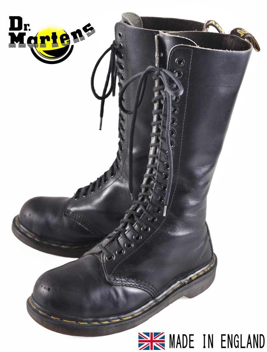 Used Clothing Penguintripper Made In England Vintage Dr Martens Martens Steel Toe 20 Hole Boots Black Leather Uk4 Jpn23 0cm 1 Boots Black Boots Men Steel Toe Boots