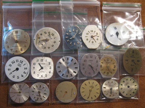 17 Vintage Wrist Watch Dials Faces Steampunk by HandzofTime, £9.50