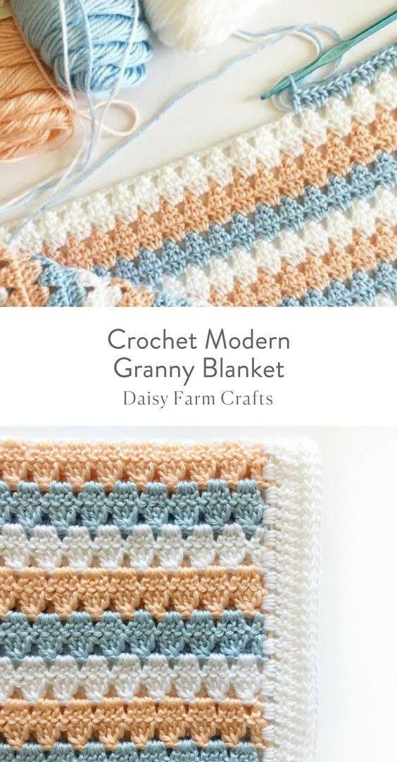 Free Pattern - Crochet Modern Granny Blanket #CrochetProjects ...