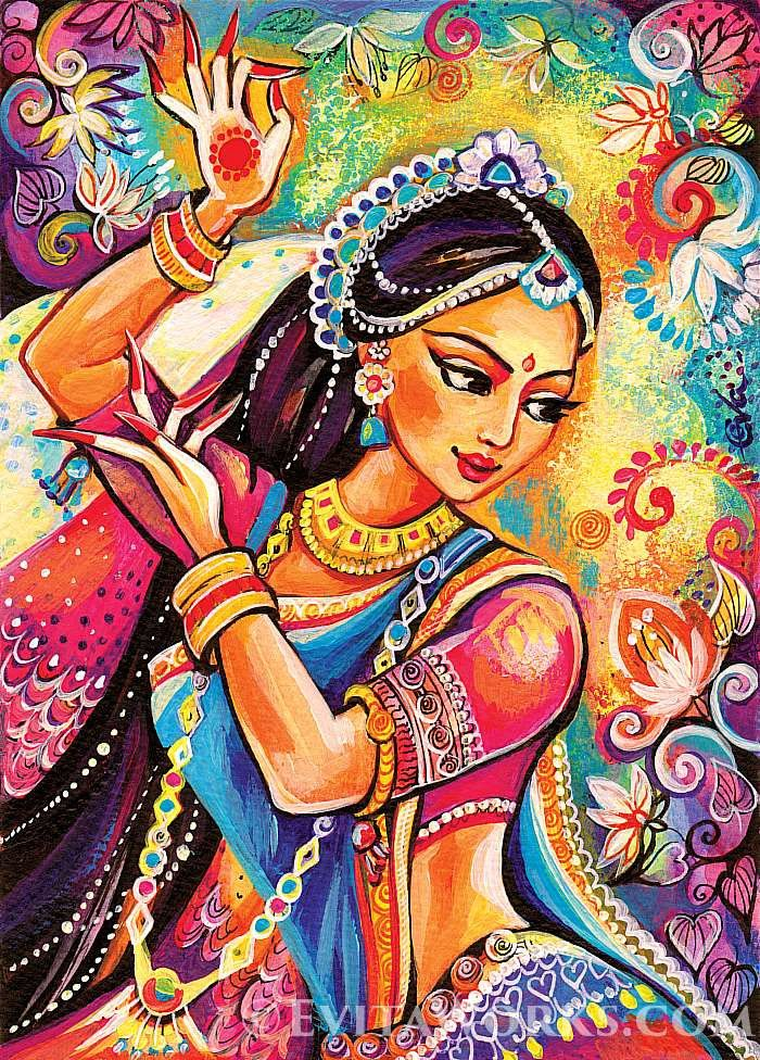 Photo of Bollywood dance, Indian woman, Indian decor, Indian classical dance painting, feminine decor, beauty painting print
