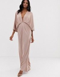 9374d281 ASOS Tall | ASOS DESIGN Tall scatter sequin knot front kimono maxi dress
