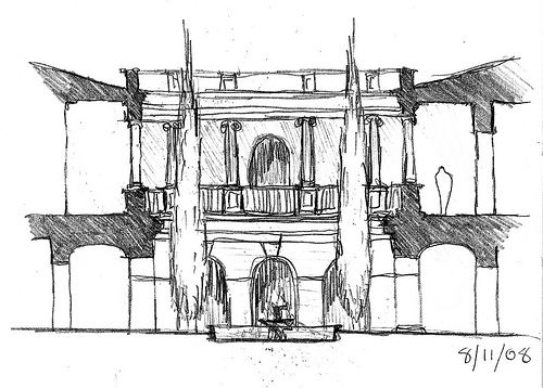 Courtyard Sketch (by Blake Burton)