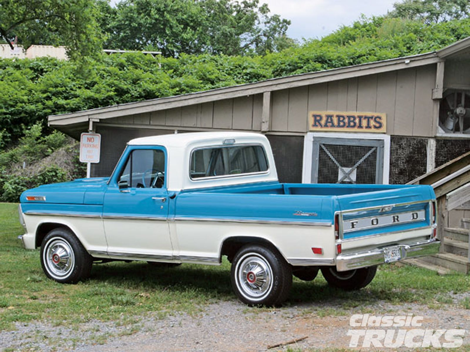 Classic ford trucks 0611clt 1969 ford f100 pickup truck rabbits door way photo 8