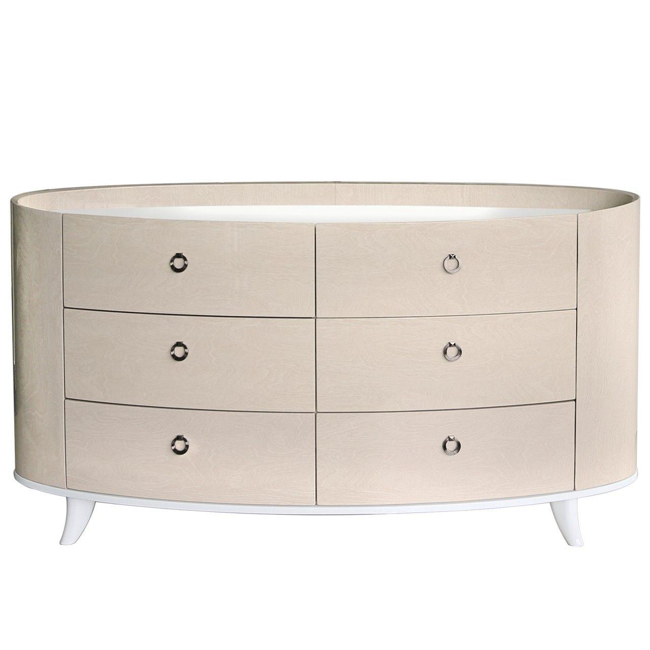 Enzo Light Ivory Walnut 6 Drawer Cabinet