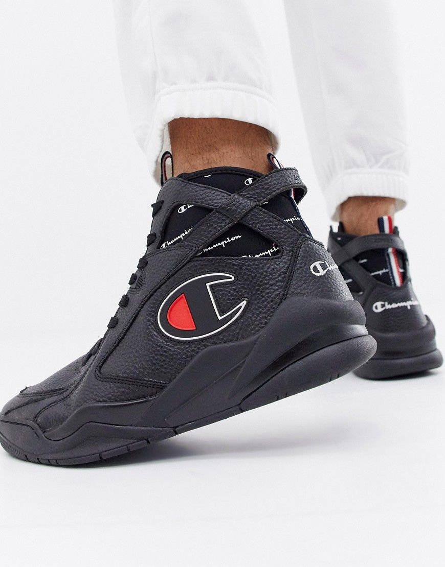5ca2a30c403f6 CHAMPION ZONE 93 HIGH LEATHER SNEAKERS IN BLACK - BLACK.  champion  shoes