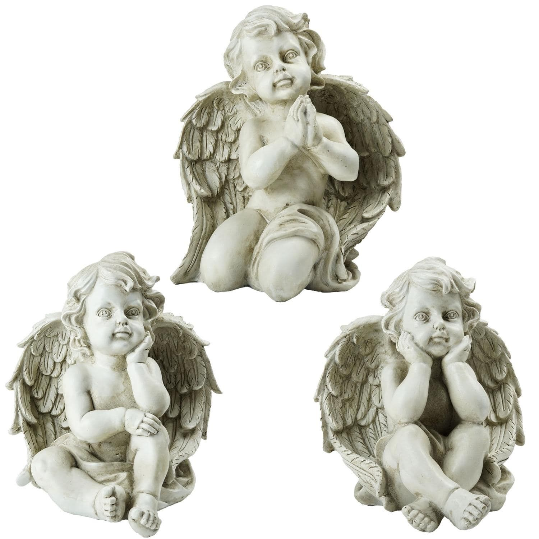 Set Of 3 Sitting Cherub Angel Decorative Outdoor Garden Statues 11