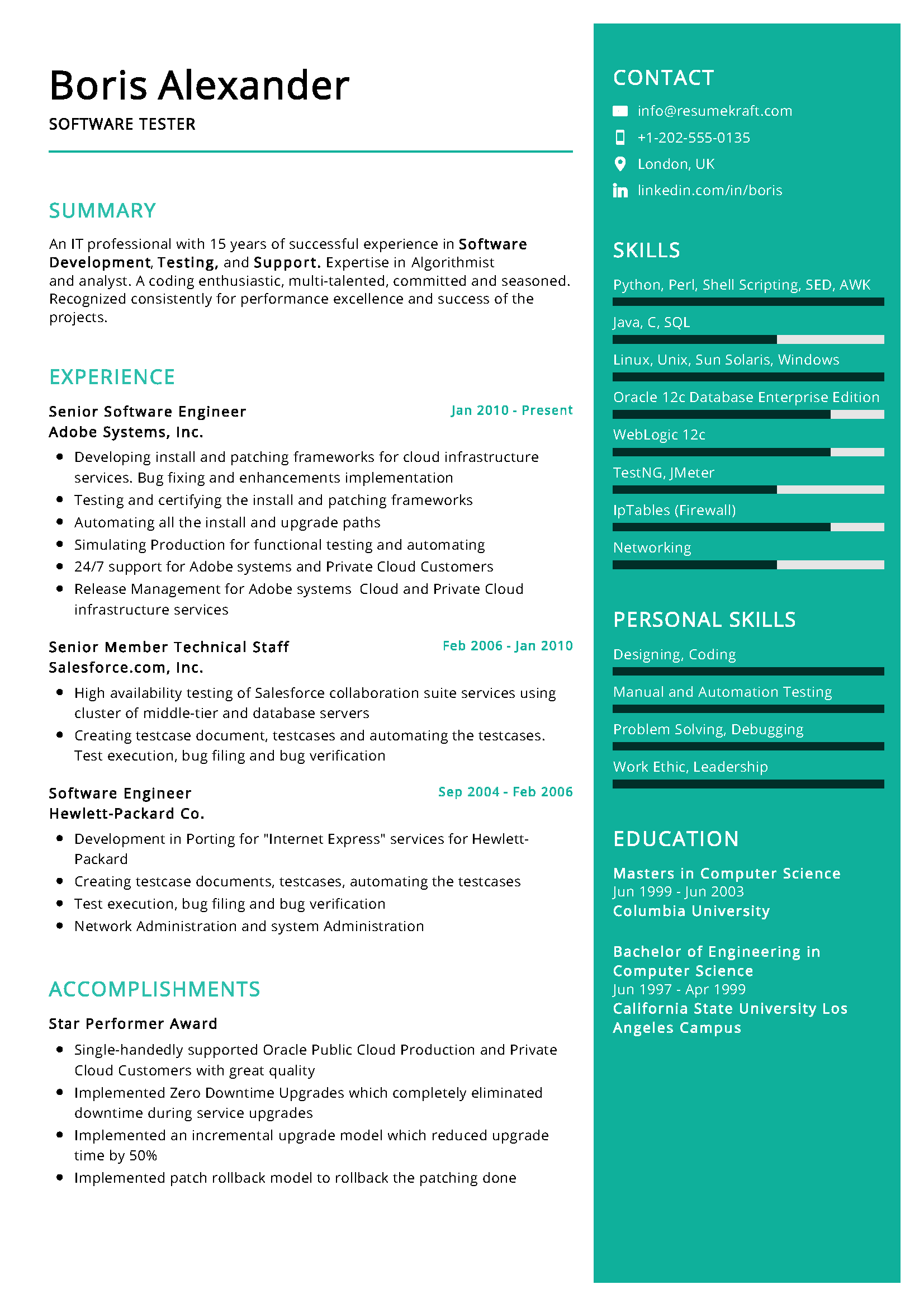 Software Tester Sample Resume in 2020 Professional