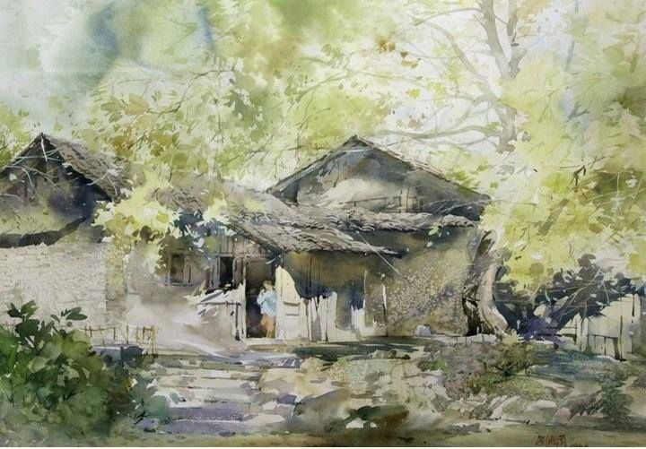 Artist Liu Fenglan 刘凤兰 B 1944 China Watercolor Landscape