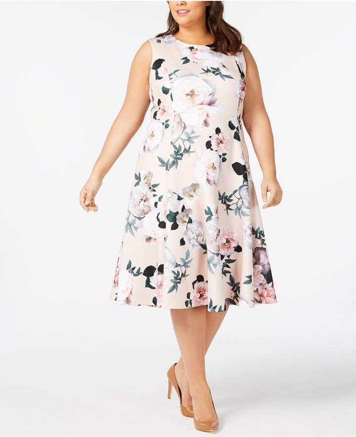 Calvin Klein Plus Size Floral Midi Fit & Flare Dress | Plus ...