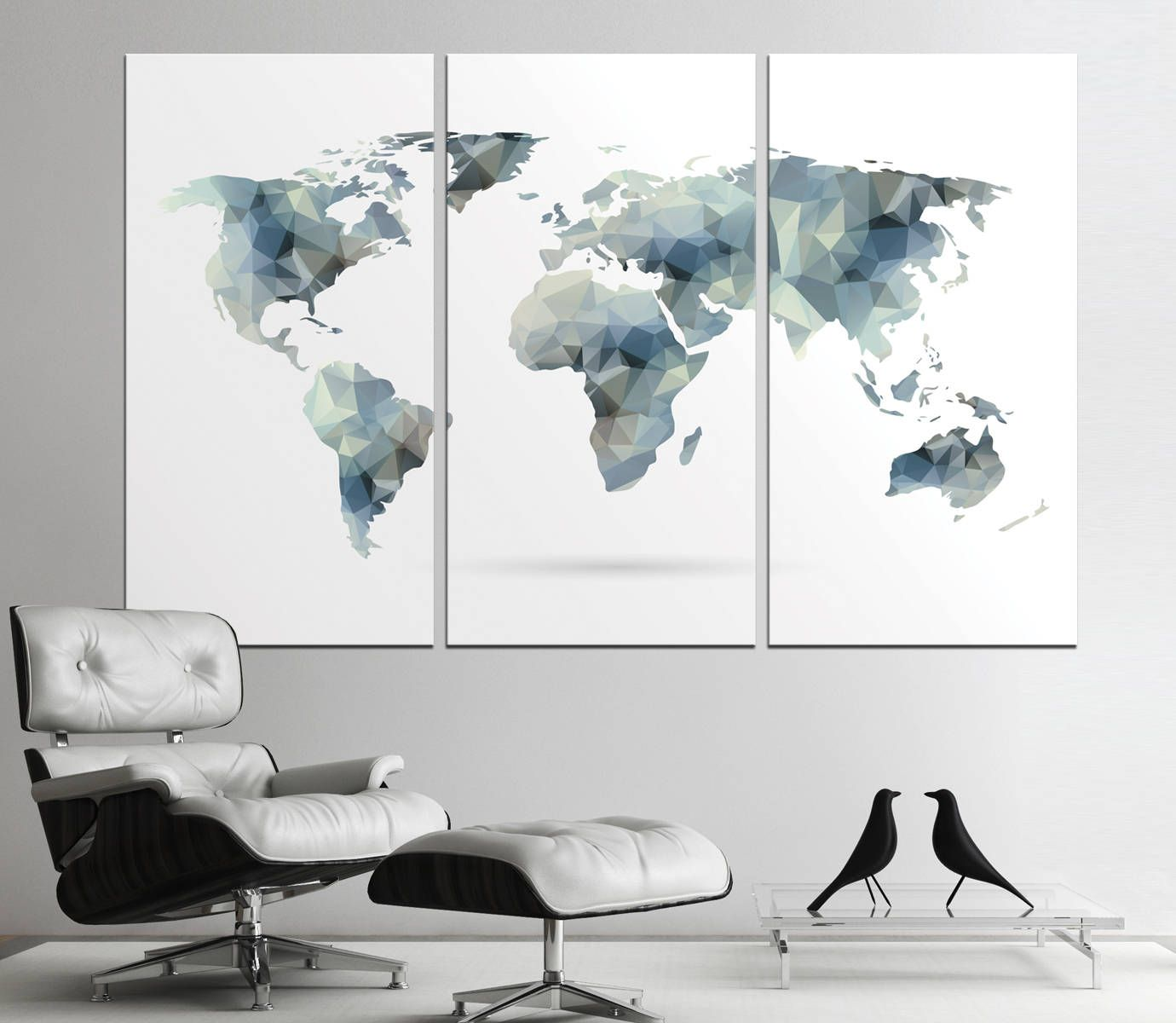 Large geometric world map print abstract world map canvas panels large geometric world map print abstract world map canvas panels set world map wall gumiabroncs Gallery