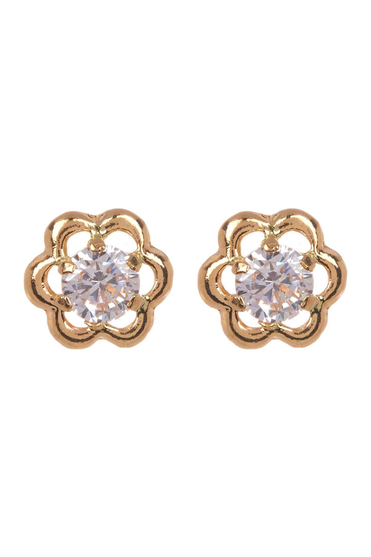 83b012099 14K Yellow Gold CZ Flower Stud Earrings | Products | Jewelry, Stud ...