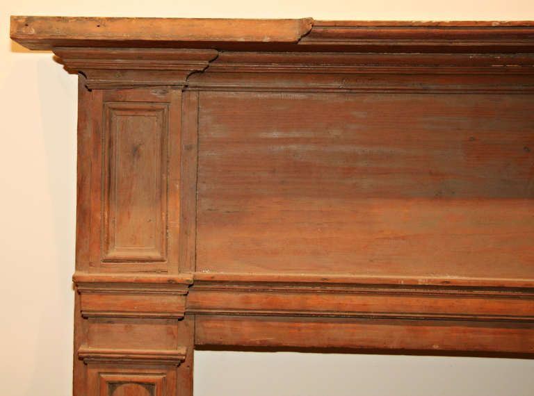 Antique pine mantel