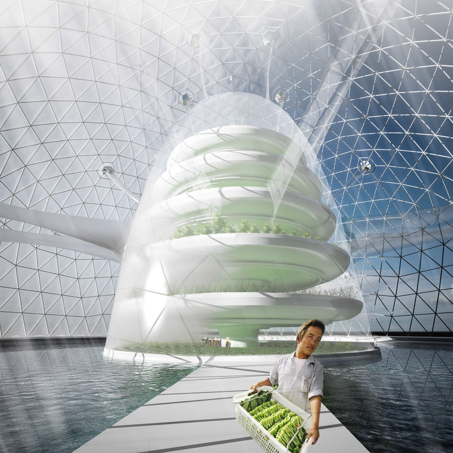 Seawater greenhouse agriculture with ocean distiller farm for Greenhouse architecture design